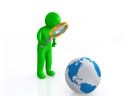0914 Green 3d Man With Magnifier On Globe Image Graphic Stock Photo