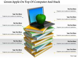 0914 Green Apple Laptop On Top Of Books Stack Image Graphics For Powerpoint