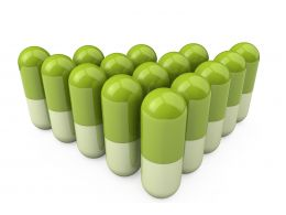 0914 Green Medical Capsules For Healthcare Stock Photo