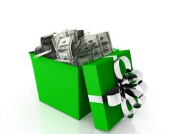 0914 Green Opened Gift And Dollars Objects Surprise Graphic Stock Photo