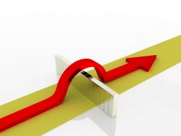 0914 Green Path Red Arrow Jumps Above The Wall Success Graphic Stock Photo