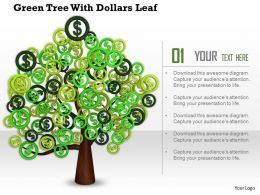 0914 Green Tree With Dollar Leaf Ppt Slide Image Graphics For Powerpoint