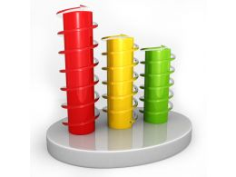 0914 Green Yellow Red Bar Graph For Growth Stock Photo