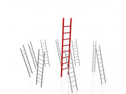0914 Growth Leader Concept Red Glossy Ladders Business Graphic Stock Photo