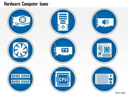 0914 Hardware Computer Icons Showing Power Supply Fan CPU PCB Memory CHIP PCIE Card Ppt Slide