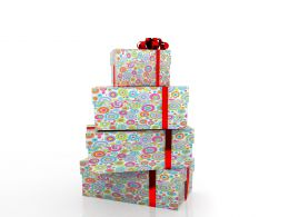 0914 Heap Of Gifts Of Dots Colored Design Red Ribbon Graphic Stock Photo