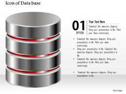0914 Icon Of Database With Storage Circular Cylinders Stacked On Top Of Each Other Ppt Slide