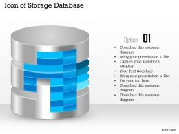 0914 Icon Of Storage Database With Layers Shown Ppt Slide