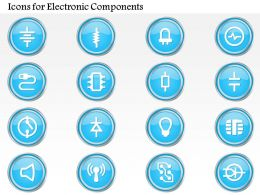 0914 Icons For Electronic Components Resistor Capacitor Led Diode And Others Ppt Slide