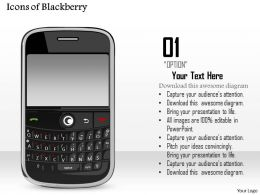 0914 Icons Of Blackberry Wireless Mobile Device With Qwerty Keyboard Ppt Slide