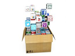 0914 Icons Of Mobile Applications Coming Out Of Box For Internet Stock Photo