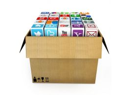 0914 Icons Of Mobile Applications In Carton Box For Wireless Communication Stock Photo