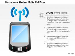 0914 Illustration Of A Wirless Mobile Cell Phone Antenna With Signals Ppt Slide
