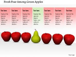 0914 Individual Pear In Row Of Red Apples Image Graphics For Powerpoint