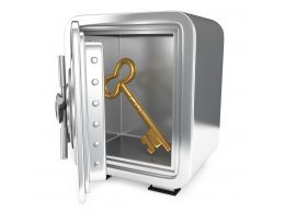 0914 Key Inside The Steel Metal Safe For Security Stock Photo