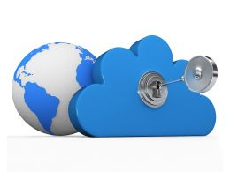 0914 Key With Cloud And Earth Stock Photo