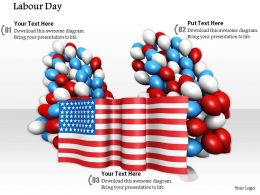 0914 Labor Day American Flag Balloons Ppt Slide Image Graphics For Powerpoint