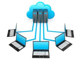 0914 Laptop Connected To Cloud Computing Network Stock Photo