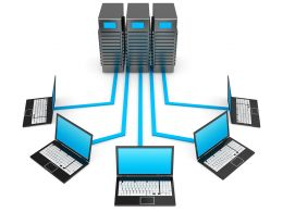 0914 Laptop Network Connected To Server For Technology Stock Photo