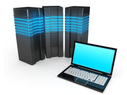 0914 Laptop With Computer Servers Workstation Concept Stock Photo