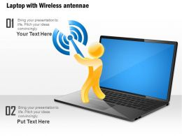 0914 Laptop With Wireless Antennae Shown By Man Holding The Antenna Ppt Slide