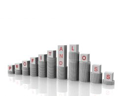 0914 Letter Cube Spelling Profit And Loss On Top Penny Stacks Growth Stock Photo
