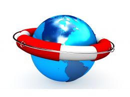 0914 Life Saver On Blue Globe For Safe Earth Stock Photo