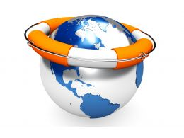 0914 Life Saver On Globe For Safety Of Earth Stock Photo
