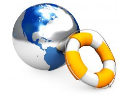 0914 Life Saver With Earth Globe For Global Crisis Stock Photo