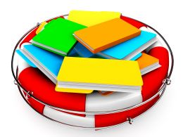 0914 Life Saver With Multi Computer Folders Stock Photo