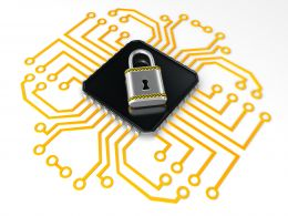 0914 Locked Processor With Technology Circuit Stock Photo