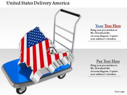 0914 Luggage Cart With Usa Map Piece Image Graphics For Powerpoint