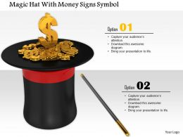0914 Magic Hat Stick With Money Signs Symbols Image Graphics For Powerpoint