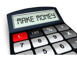 0914 Make Money Text On Calculator With Red Button Stock Photo