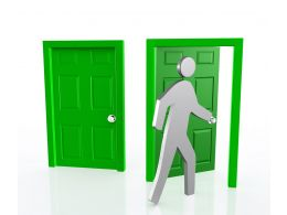 0914 Man Walking Towards Open Door Showing Opportunity Stock Photo