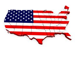 0914 Map Of Usa On White Background Stock Photo