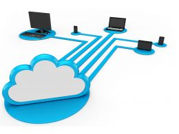 0914 Media Devices Connected To Cloud For Technology Stock Photo