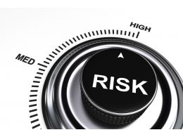 0914 Meter Showing High Level Of Business Risk Stock Photo