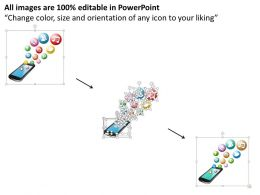 0914 Mobile Cellular Phone With Social Media Icons Bubbling Up Ppt Slide