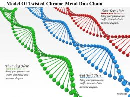 0914 Model Of Twisted Chrome Metal Dna Chain Ppt Slide Image Graphics For Powerpoint