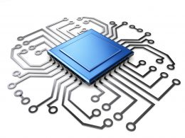 0914 Motherboard Circuit With Processor Of Advanced Technology Stock Photo