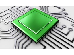 0914 Motherboard Circuit With Processor Of High Technology Stock Photo