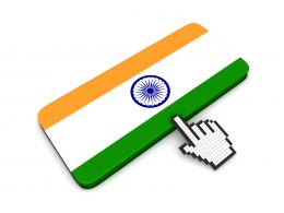 0914 Mouse Cursor Hand Pointing At Indian Flag Stock Photo