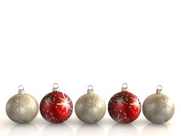 0914 Multicolor Christmas Balls On White Background Stock Photo