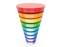 0914 Multicolor Funnel Graphic For Sales Process Stock Photo