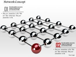 0914 Network Concept Glossy Grey Balls One Red Ball Ppt Slide Image Graphics For Powerpoint
