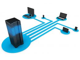 0914 Network Devices Connected Through Server Stock Photo