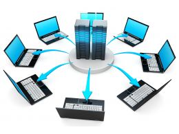 0914 Network Of Laptop Computers For Centralize Functions Stock Photo