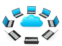 0914 Network Of Laptops Around Cloud For Cloud Computing Stock Photo