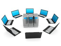 0914 Network Of Laptops Around Computer Servers Stock Photo